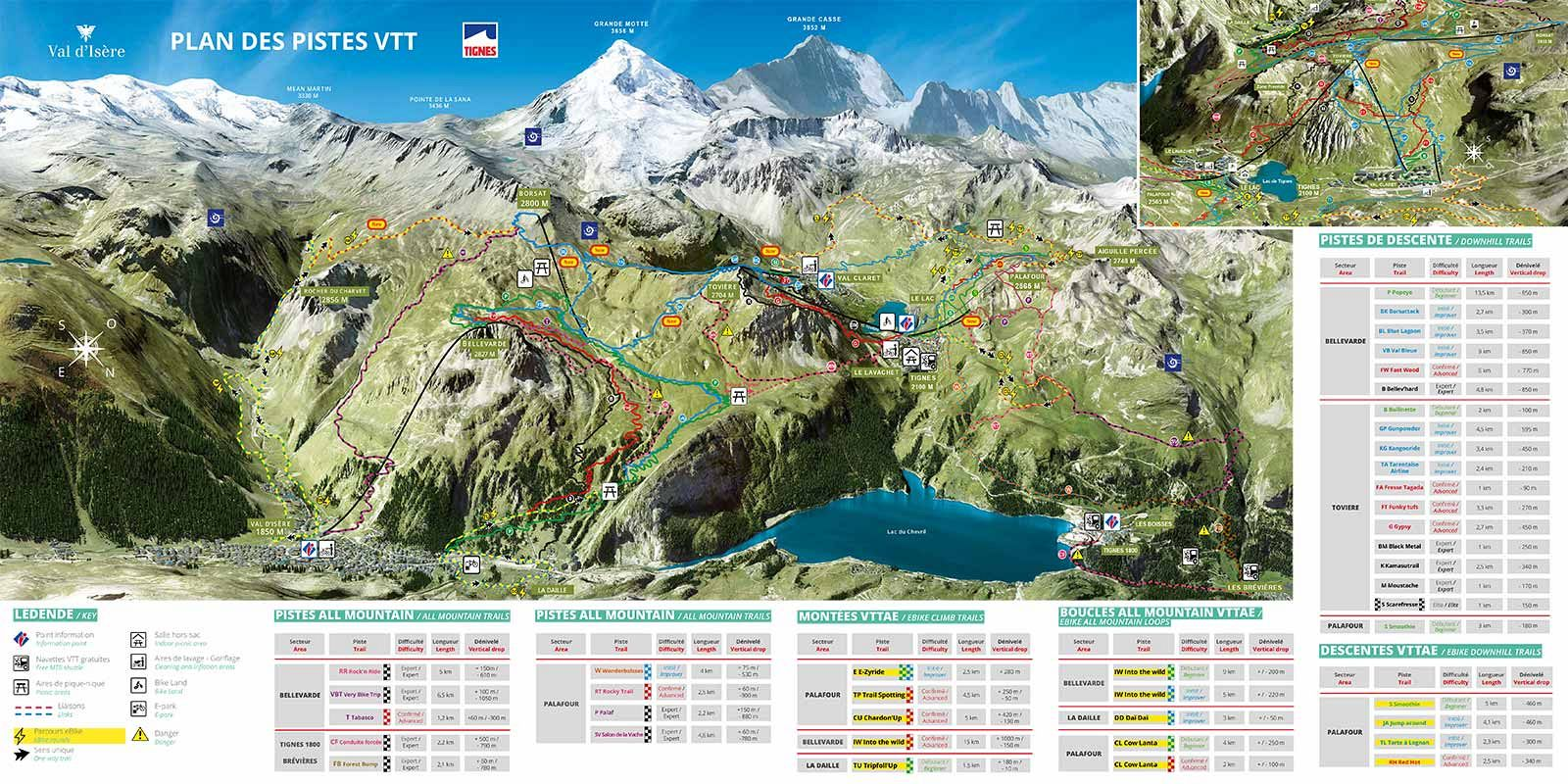 Val dIsere Francija trail map